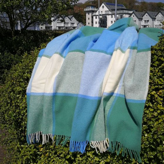 Block Check Green & Blue Wool Blanket / Throw